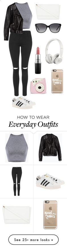 Everyday outfit! #2 by theaankerstjerne on Polyvore featuring Topshop, Zara, adidas Originals, Skinnydip, Michael Kors, Casetify, Beats by Dr. Dre and MAC Cosmetics