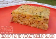 {RECIPE} Bacon and Vegetable Slice tasty cheese cup) parmesan cheese 1 large onion, quartered 1 carrot, peeled 3 rashers bacon 2 zucchini corn kernels, frozen self-raising flour oil 5 eggs Salt & pepper to taste Lunch Box Recipes, Great Recipes, Favorite Recipes, Lunchbox Ideas, Freezer Cooking, Cooking Recipes, Healthy Recipes, Quiche, Savoury Slice