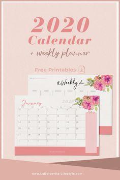 Free printables: 2020 Calendar + weekly planner! Weekly Planner Printable, Monthly Planner, Lifestyle Blog, Free Printables, Blogging, Calendar, Bullet Journal, How To Plan, Free Printable