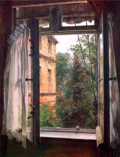 Fast zu ernst – Franz Schubert Vue d'une fenêtre en Marienstrasse (View from a window in the Marienstrasse) Adolf von Menzel, 1867 Window View, Window Art, Open Window, Adolf Von Menzel, Looking Out The Window, Through The Window, Windows And Doors, Les Oeuvres, Illustrator