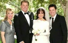 """Marie Osmond""""s second wedding to Steven Craig, with Donny and his wife Debbie on either side of the couple."""