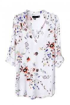 White V-neck Long Sleeves Floral Blouse