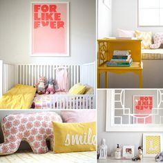 bright yellows, light pink and light blue mixed with white and gray