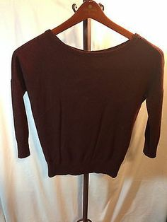 Brown Ann Taylor CASHMERE blend sweater SZ SM with button detailing down back