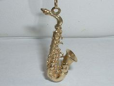 VINTAGE 14K YELLOW GOLD 3D MUSICAL SAXOPHONE PENDANT CHARM in Jewelry & Watches Vintage & Antique Jewelry Fine | eBay