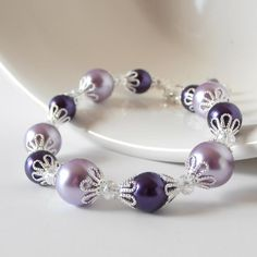 Pearl Bracelet Bridesmaid Jewelry Two Tone Purple Pearl and Crystal Wedding Jewelry Set Bridesmaid Gift Idea Wisteria Bridal Silver Filigree