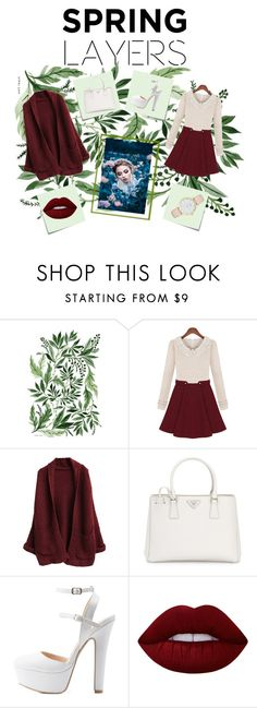 """Spring"" by olive-seidler ❤ liked on Polyvore featuring Post-It, Prada, Charlotte Russe, Lime Crime, Kate Spade, cutecardigan and springlayers"