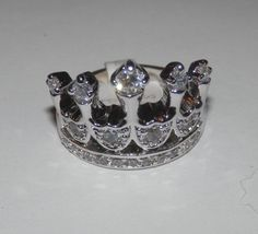 Crown Ring~~CZ~~SZ. 8~~18K White Gold Plated~Rhodium #AimeesTreasures #Royalty