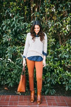 chambray sweter booties chinos