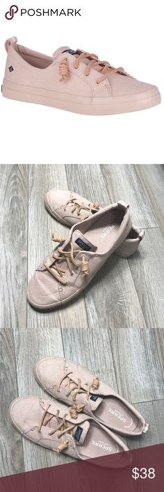 Sperry Rose Crest Vibe Flooded Sneakers EUC lightweight sneaker. Breathable canvas uppers with slip-on construction are bonded to a lightweight midsole, while a rubber outsole grips any surface for a slip-free journey from sea to street. Durable sneaker construction securely bonds upper to rubber outsole Premium canvas and novelty materials on upper Slip-on design with fixed rawhide laces Rustproof eyelets Removable memory foam footbed for lightweight comfort and arch support Non marking…