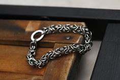 Men's Oxidized Sterling Silver Chainmaille Bracelet