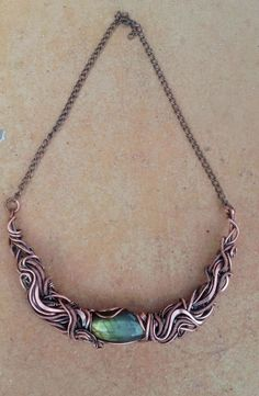 Wire wrapped necklace with natural Labradorite stonesWire