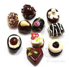 Box of Chocolate Lampwork Beads (10) by Jopanda (SRA)