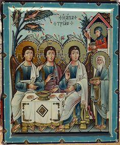 Икона Троица - Гостеприимство Авраама. Энкаустика.