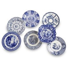 Check out this item at One Kings Lane! Set of 7 Porcelain Plates, Blue/White