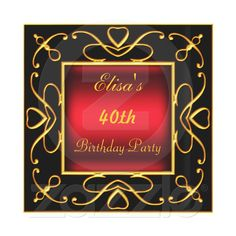 Art Deco Birthday Party Invitation Black Gold Red by Invitesnow $2.25
