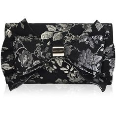 Judith Leiber Couture Beekman Brocade Bow Evening Clutch Bag (€1.185) ❤ liked on Polyvore featuring bags, handbags, clutches, black pattern, metallic clutches, special occasion clutches, metallic handbags, cocktail purse and flap purse
