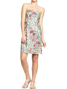 I don't really want a strapless rehearsal dress, but I like the print of this --> Women's Strapless Flower-Print Dresses   Old Navy