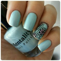 this gorgeous color is Virginia from @mentalitynailpolish. It's a pastel teal matte polish. Use code: IRENE for 20% off all orders.