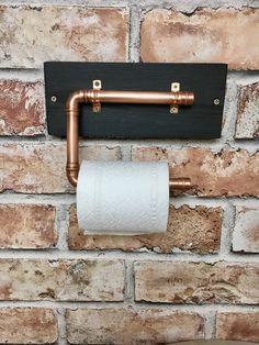 Toilet roll holder, copper pipe, rustic, steam punk, industrial, bathroom decor by Rusticretrofurniture on Etsy https://www.etsy.com/uk/listing/530196579/toilet-roll-holder-copper-pipe-rustic
