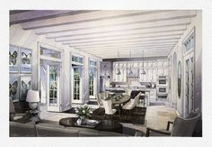 Camana Bay living room 2 Torti Gallas and Partners Interior Design Sketches, Interior Rendering, Perspective Sketch, Illustration Art, Design Illustrations, Watercolor Paintings, Indoor, Living Room, Pigeon