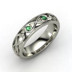 Platinum Ring with Emerald | Infinite Love Ring | Gemvara
