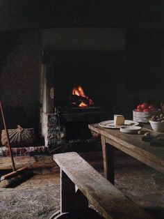 dining by the fire Cold Comfort Farm, I Capture The Castle, Interior Exterior, Interior Design, Cabins And Cottages, Slow Living, Rustic Charm, Rustic Style, Hygge