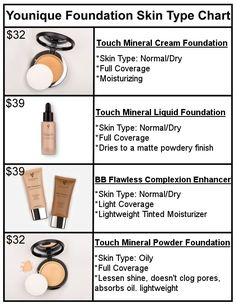 Younique Foundation Skin Type Chart - Liquid Powder Cream or BB ONLINE at www.makeupwithkimbrell.com I am a Younique presenter and am trying to reach new clientele. If you're looking for amazing cruelty free makeup that's made in the USA, please check out Younique!!!