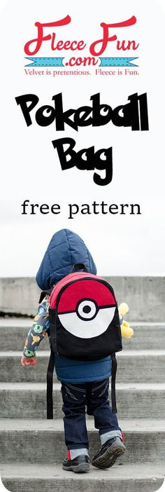 Pokeball Toddler Backpack Tutorial - Best DIY and Crafts 2019 Backpack Tutorial, Diy Backpack, Toddler Backpack, Backpack Pattern, Purse Tutorial, Sewing Patterns For Kids, Bag Patterns To Sew, Sewing Ideas, Diy Sewing Projects