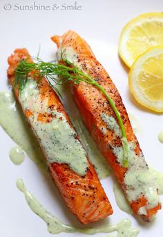 Salmon with Creamy Dill Sauce--healthy and delicious....my family loves this!