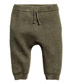 Perlestrikkede bukser   Kakigrønmeleret   Børn   H&M DK