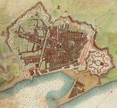 1806.- Emplaçament del jardí de l'Esplanada (rectangle vermell) entre el barri de la Ribera i la fortificació de la Ciutadella. (Font: Plànol de Barcelona de Moulinier. Institut Cartogràfic de Catalunya)