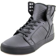 Supra Supra Skytop Round Toe Leather Sneakers (407788401) ($104) ❤ liked on Polyvore featuring men's fashion, men's shoes, men's sneakers, black, shoes, mens black sneakers, mens leather shoes, mens black shoes, mens black leather shoes and mens black leather sneakers