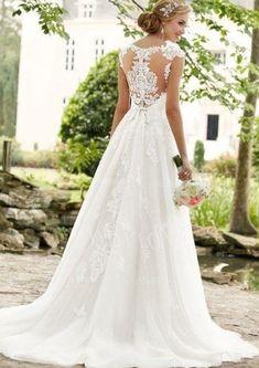 Wedding Dresses 34 36 38 40 42 44 46 48 50 Vintage Weiß Ivory Brautkleid Hochzeitskleid Schleppe Factory Direct Selling Price
