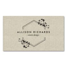 Ornate Vine and Leaf Emblem on Linen Customizable Business Card - a classy and elegant design for event designers, party planners, floral designers, boutiques, salons, stylists, interior decorators and more!