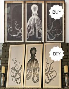 Buy or DIY: Large Framed Octopus Triptych | Apartment Therapy OOOOOHHHHHHHH... for the dining room!