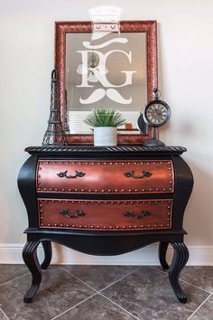 This side table by Refurbished Gentleman, LLC is a real stunner!   GF Lamp Black Milk Paint, Copper Pearl Effects and Pitch Black Glaze Effects are an unstoppable combo!