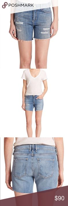 "McGuire Riviera Distressed Denim Shorts McGuire Riviera Distressed Denim Shorts. Size 27 (4). Belt Loops. 5 Pocket Style. Distressed Detail. Frayed Rolled Cuff. 5"" Inseam. Cotton. Made in USA of Italian Fabric. Brand New. McGuire Shorts Jean Shorts"