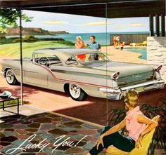 1957 Oldsmobile Starfire 98 Holiday Coupe  Brand new, space age, chromed road cruiser and a roomy modernist mansion at the seashore. If this isn't the epitome of mid-century modern design, I don't know what is.
