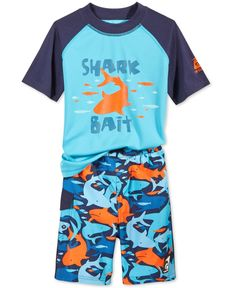 Laguna Little Boys' 2-Piece Rash Guard & Shark-Print Swim Trunks Set