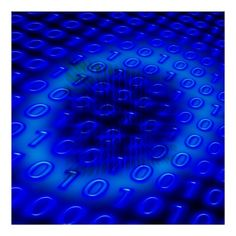 """Neon Blue Binary Abstract 40x40"""" Poster"""