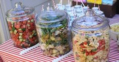 When your party is outside, put your salads in large glass jars with lids. No bugs. by cathryn | Interesting ideas | Pinterest | Jars, Outdoor parties and Large