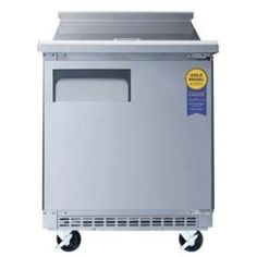 Affordable  Everest Epbr1 6.5 Cu. Ft. Capacity Single Door Side-mount Refrigerator / Sandwich Prep Table - Stainless Steel