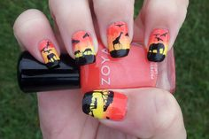 Nail Art African Safari ~ Polish is Zoya  in Rocha & Pippa ~ Stamp plate is Mo You London Explorer Collection 10