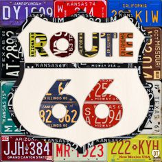 Route 66 Road Sign License Plate Art by Design Turnpike. Handmade artwork of the iconic Route 66 road sign, using genuine vintage recycled license plates from each of the states through which the famous highway passes. Get your kicks with this authentic piece of American history!