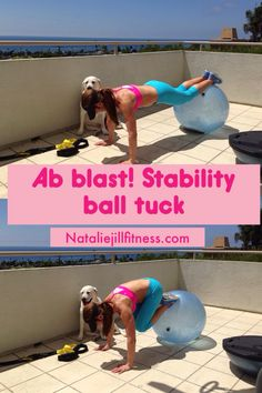Re-Pin if you are IN! Ab blast workout!! Stability ball tucks. Works your core and abs :) Click on the image to get my FREE at home workout book!