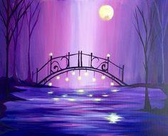 Magical Moonlit Violet Bridge