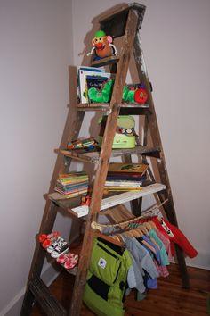 ladder turned bookshelf for Will's room :)