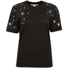 Devoré Stars T Shirt ($270) ❤ liked on Polyvore featuring tops, t-shirts, relax t shirt, star tee, relaxed tee, cotton jersey and stella mccartney