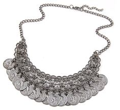 Audacious Bohemian Silver and Gold Coin Vintage Necklace